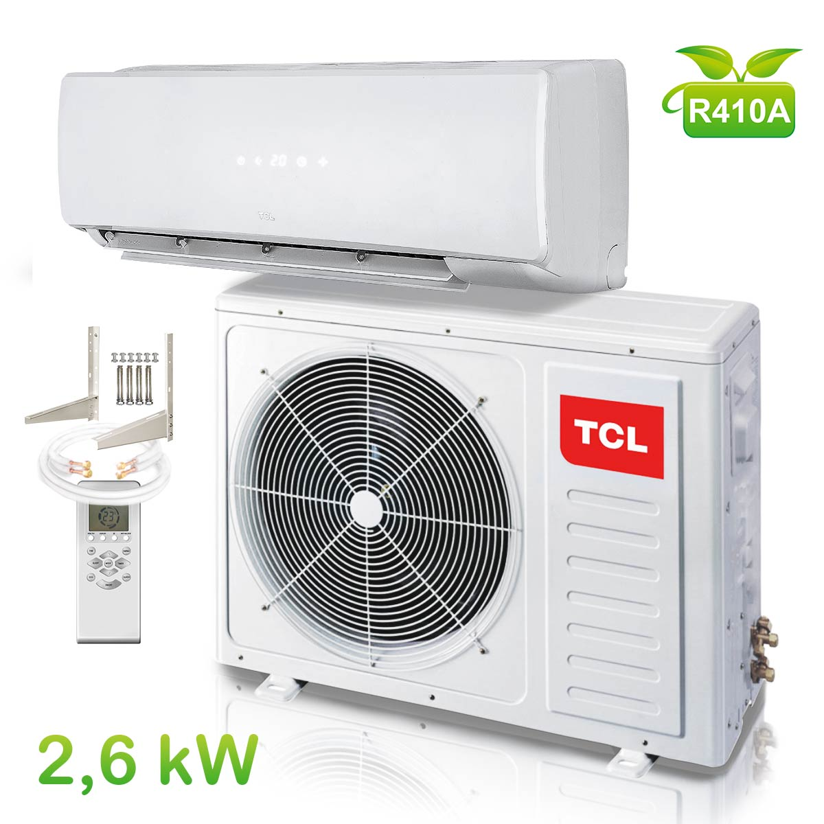 split klima anlage klimaanlage klimager t inverter tcl 9000 btu 2 6 kw heizung ebay. Black Bedroom Furniture Sets. Home Design Ideas